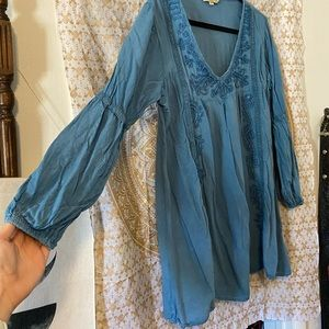 Ananda collection tunic denim embroidered